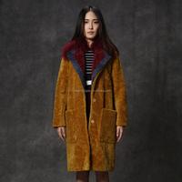 Womens clothes dark ginger 100% MERINO wool sheep shearling fur coat with mongolian fur trimming