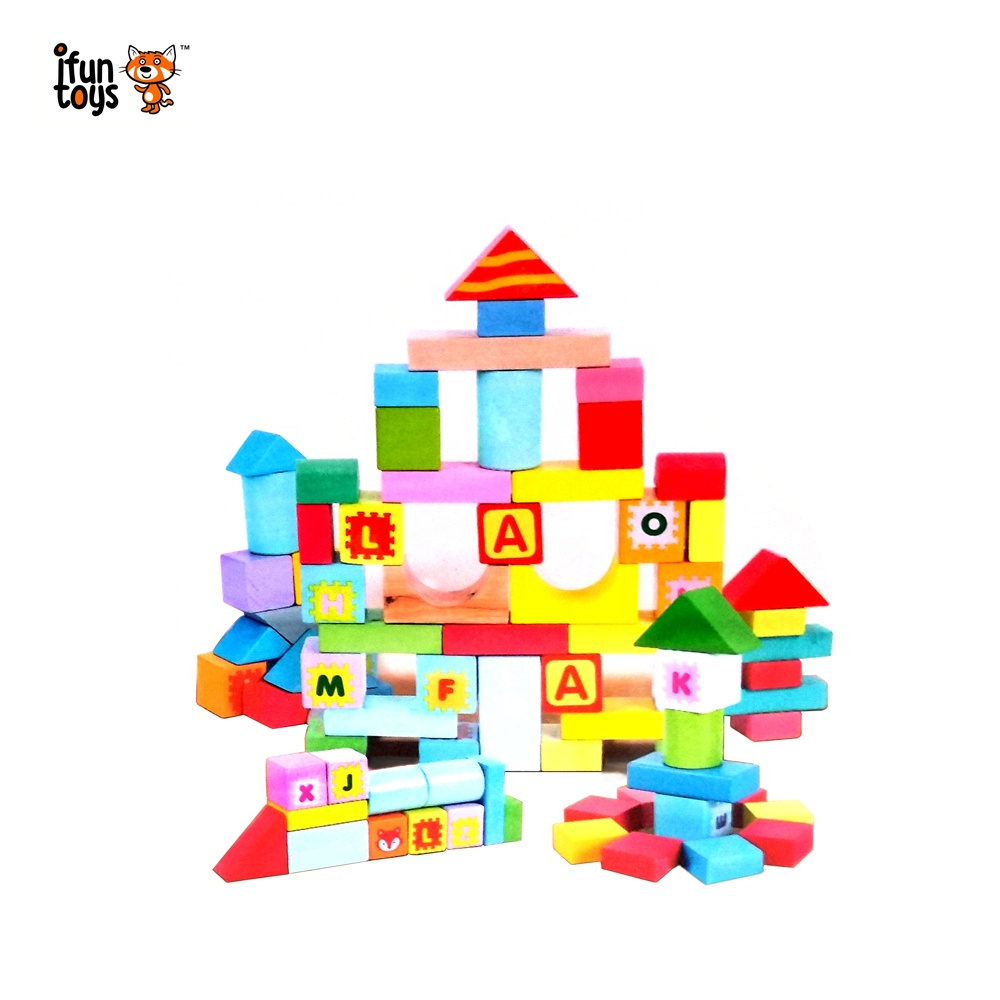 Fantasyland 2 in 1 castle DIY educational toy <strong>102</strong> pieces wooden blocks set