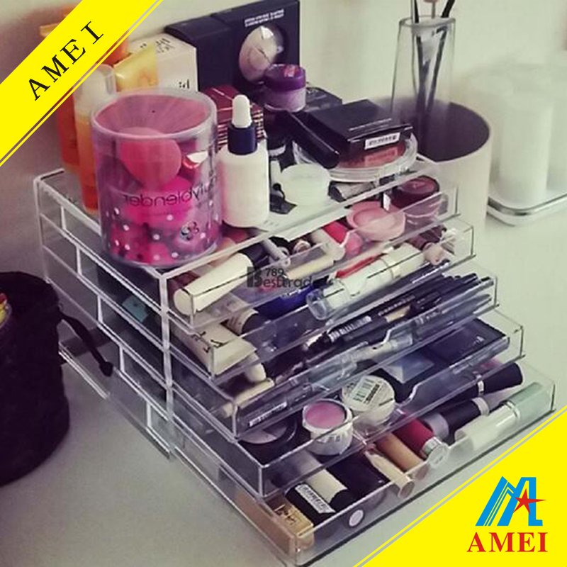 2016 hot Fashion Clear Acrylic drawer storage organizer and make up Holder Display Storage Cosmetic