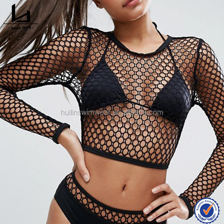 China Factory Wholesale Custom sheer fishnet tankinis tops women zip-back fastening long sleeve swimwear