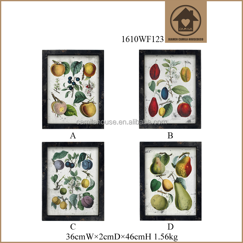 Living Room Decorative Painting Fruit Pattern Glass Painting Pictures Designs Hanging Wood Decorative Picture Frame