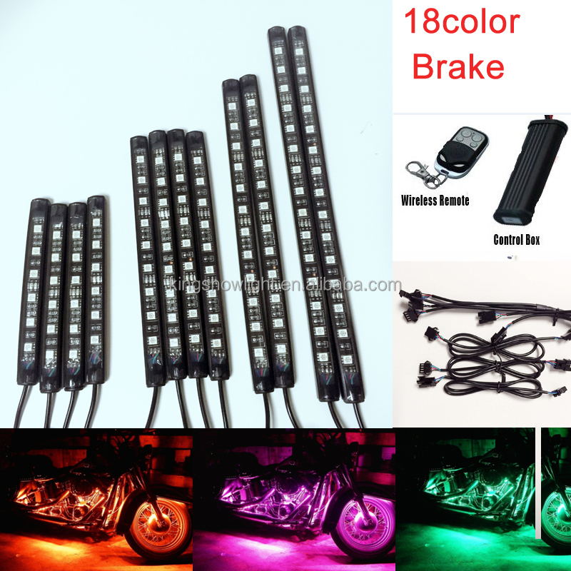Wireless 18 Color 5050 RGB 12pc PVC Motorcycle Flexible Led Strip Light Kit With brake funtion controller
