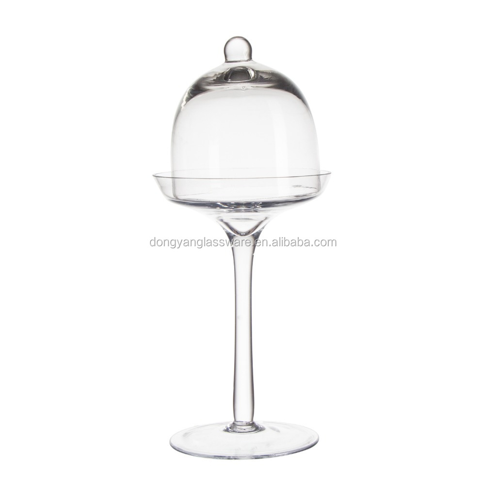 2017 new canada style 29cm clear tall glass dome cake stand and dome for fresh food show