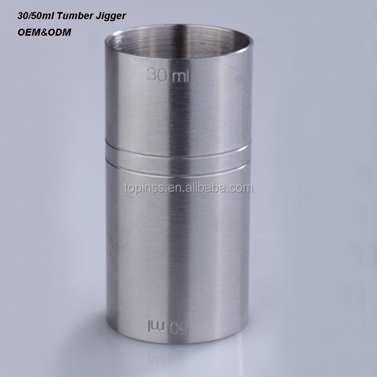30/50ml Straight Tumber Stainless steel measure jigger in silver color