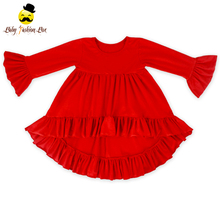 Bulk Wholesale Kids Clothing Cotton Dresses Girls Long Sleeve Ruffle Frock Design Pictures Girl Child Dress