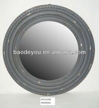 grey frame round decorative wall mirror