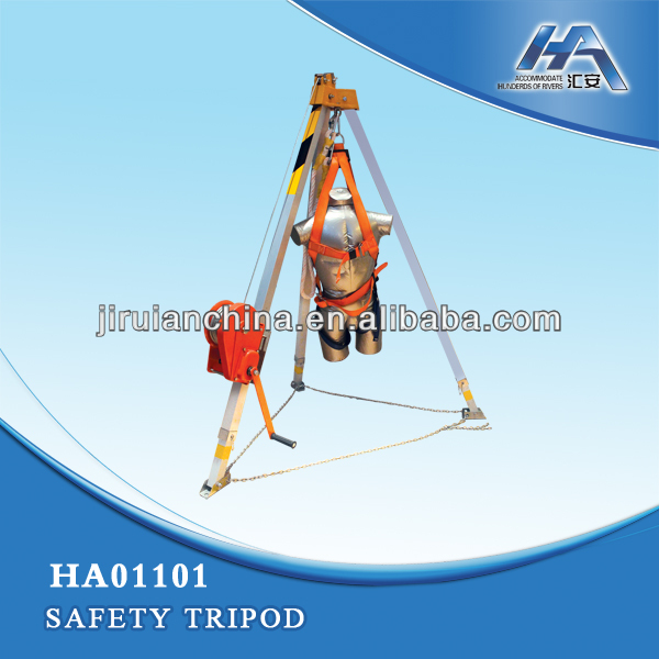 Safety tripod rescue tripod equipment with lifting decive stailess steel wire rope