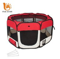 Five Star Logo Customized Durable Waterproof Oxford Top and Bottom Zipper Portable Folding Collapsible 8Panels Pet Dog Playpen