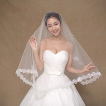 White Wedding Veil One Layer Soft Tulle 1.5m Lace Embroidery Bridal Mantilla