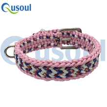 Large Tactical Adjustable Paracord Dog Collar,22-28 Inch , Pet Collar, Blue Camo, Pink, White