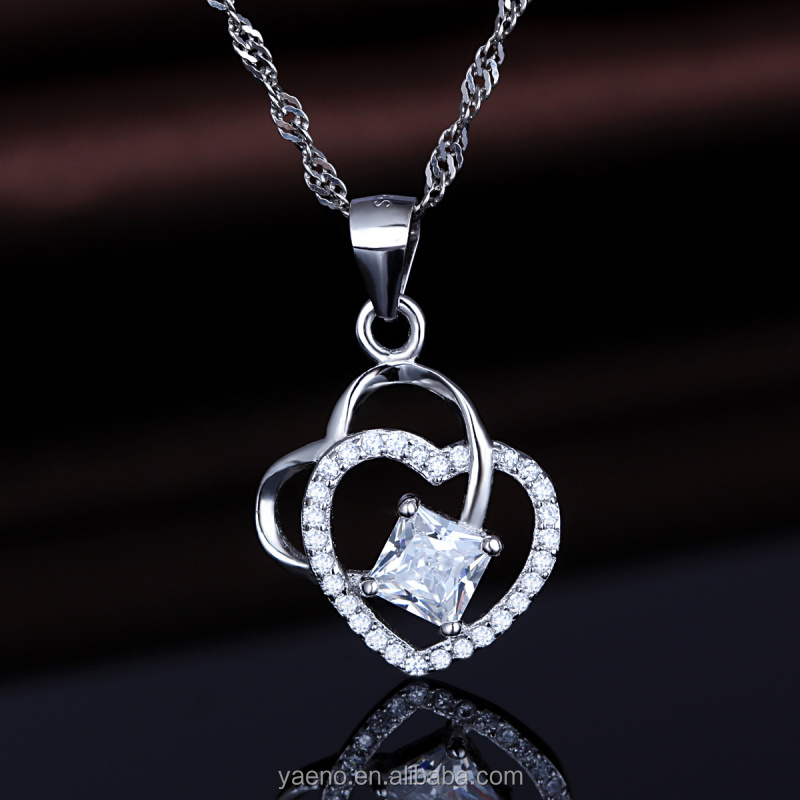 Wholesale 925 Sterling Silver Jewelry Manufacturer Double Hearts Shaped Pendant for Couples