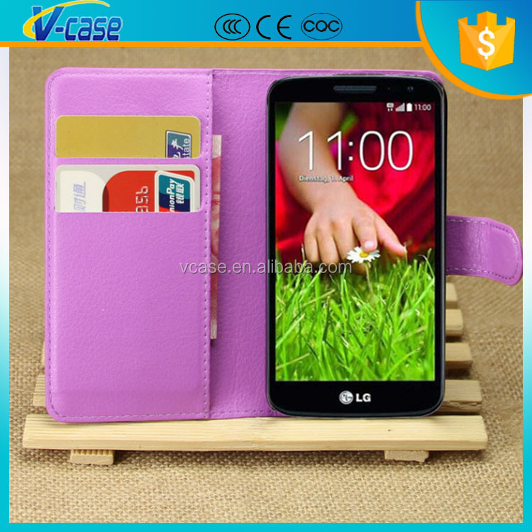 VCASE Book Style Leather Card Holders Stand Magnetic Wallet Flip Cover Case for LG G2