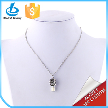 Glam pearl diamond head portrait cap plastic bottle pendant in alloy necklace