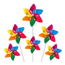 Teenagers Toy Garden Party Lawn Decor ,Party Pinwheels DIY Lawn Windmill 6 blades Rainbow Plastic Pinwheel