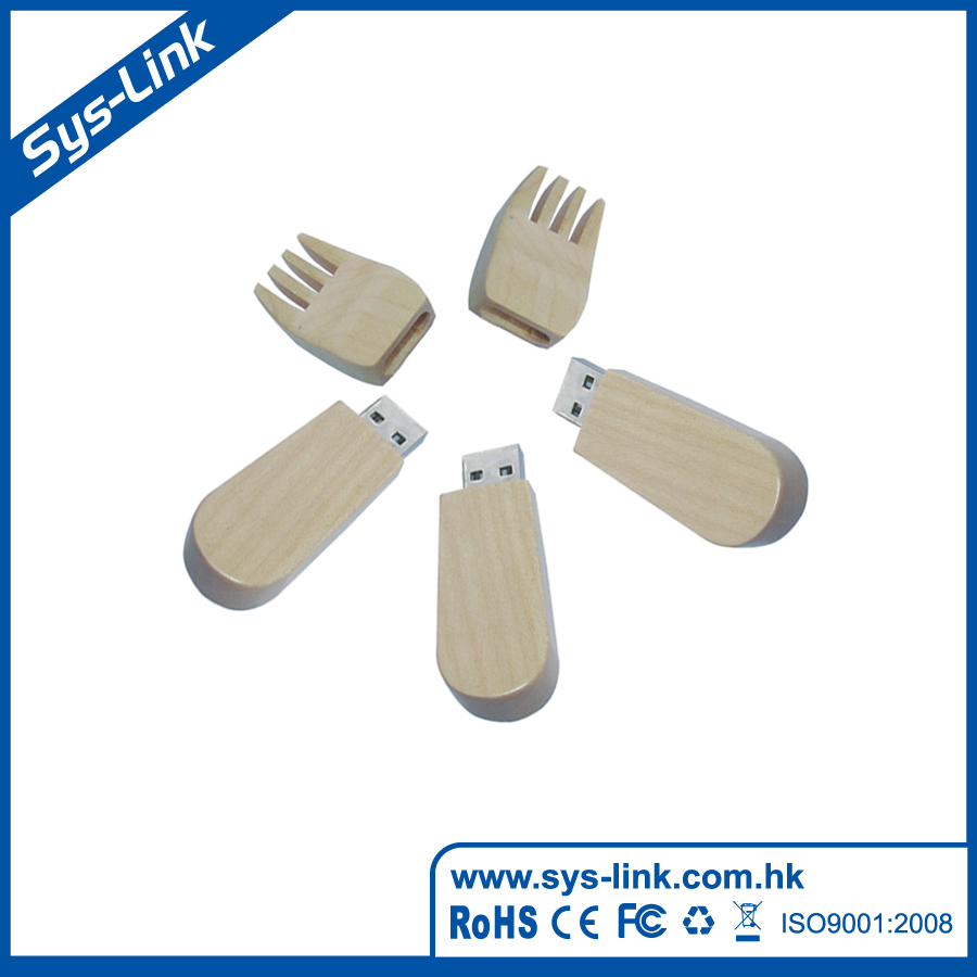 Fork shape wooden/bamboo case USB Flash Drive