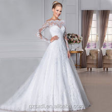 Lace Trim Long Sleeves Wedding Dress Lace Appliques off The Shoulder Wedding Dress