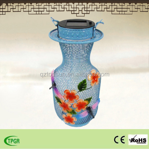 hot selling multicolor dragonfly metal solar lantern for home and garden decoration