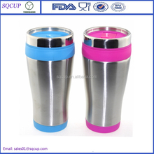 BPA-free 450ml double wall plastic thermal cup with lid
