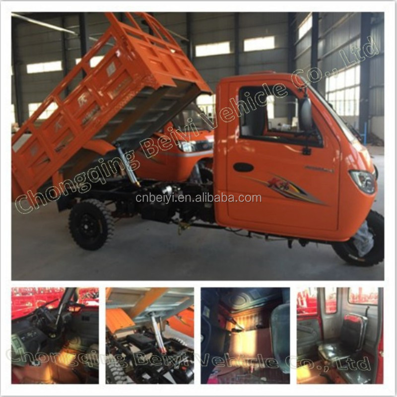 Heavy Loading Wagon Three Wheel Motorcycle gasoline water cooling 3 seats closed iron cabin tricycle for adults