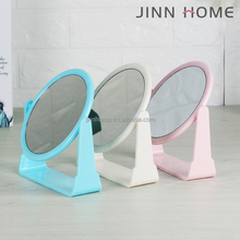 Macarons Color Pedestal Vanity Circular Tilting Bathroom Mirror Table Rotating two side Make-up Princess Mirror with Magnifier