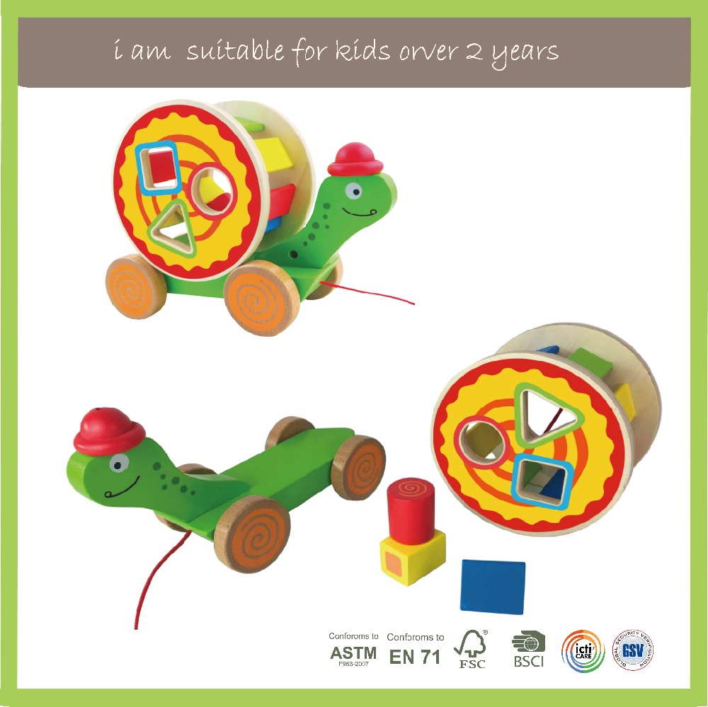 Classic Cute Tortoise pull wooden toys for children