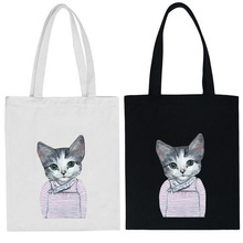strong heavy canvas cat animal printed beach tote bag