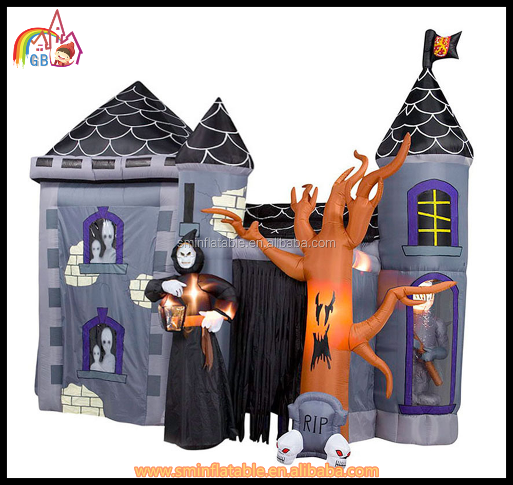 Attractive Inflatable halloween house ,custom inflatable yard decoration,fiber optics halloween decorations