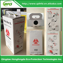 Disposable medical cardboard Safety Sharp Box 5L 305*150*110mm