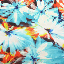 Printed 100% Silk Paj/habotai Fabric for scarves/dresses with four color way Floral Pattern