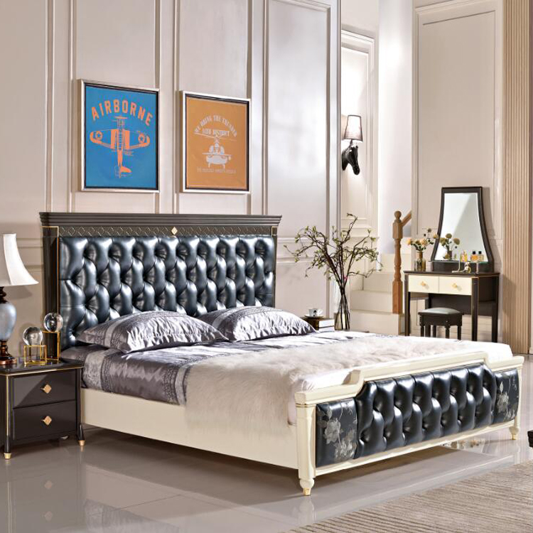 Latest double bed designs luxury king size bed with leather bed head <strong>D02</strong>