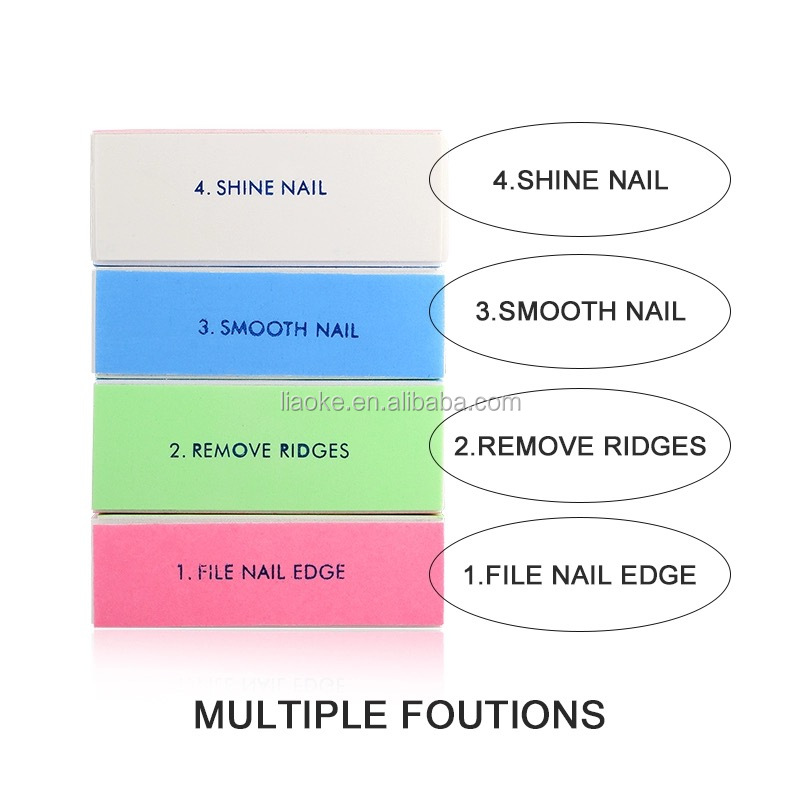 Wholesale nail supplies disposable 4 sided nail buffer block custom nail buffer