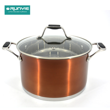 Promotional stainless steel cookware pot handles non stick set
