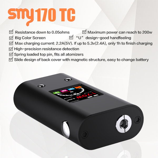 e cigarette emily vape best selling products vape smy 170w tc box mod no wick e-cigarette/long and thin e cigarette