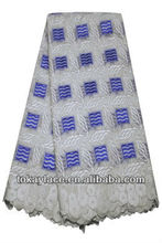 royal blue/white wholesale embroidery African high quality swiss voile lace 2013