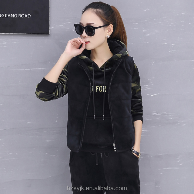 2018 Winter OEM custom Tracksuit Stitching pouch admiral sportswear Women Clothing camouflage hoodies 3 Piece suit