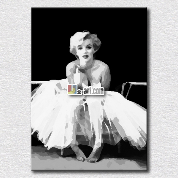 White dressed Marilyn Monroe canvas art for kids bedroom <strong>decoration</strong>