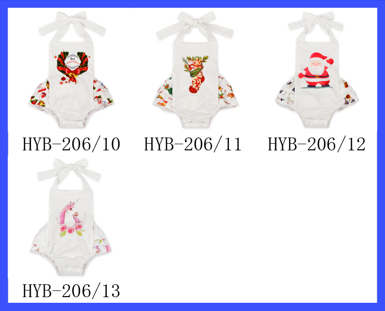 Unique Newborn Girls Pink Unicorn Printed OEM Clothing Suit Cute Baby Girl Romper