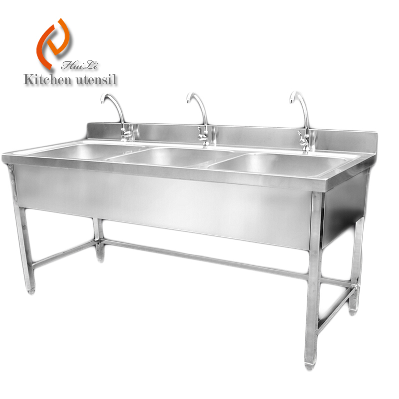 Triple Bowls Stainless Steel Kitchen Sink Cabinet With Faucets Used ...