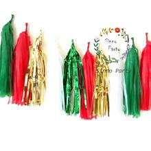 Tissue Paper Foil Tassel Christmas Decor, DIY Party Garland(16 pcs), 14Inch