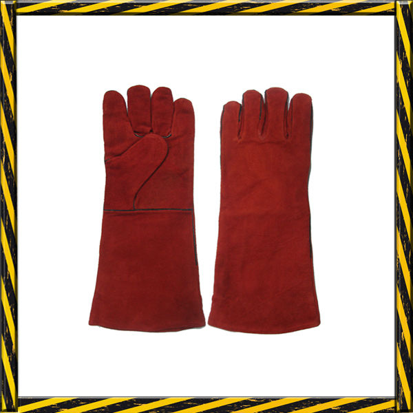 Red cow split leather welding working safety gloves