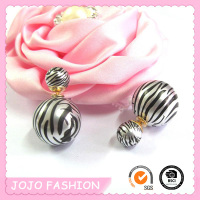 Fancy Printed Zebra Stripe Double Ball Earring/ Double Imitation Pearl Earring/
