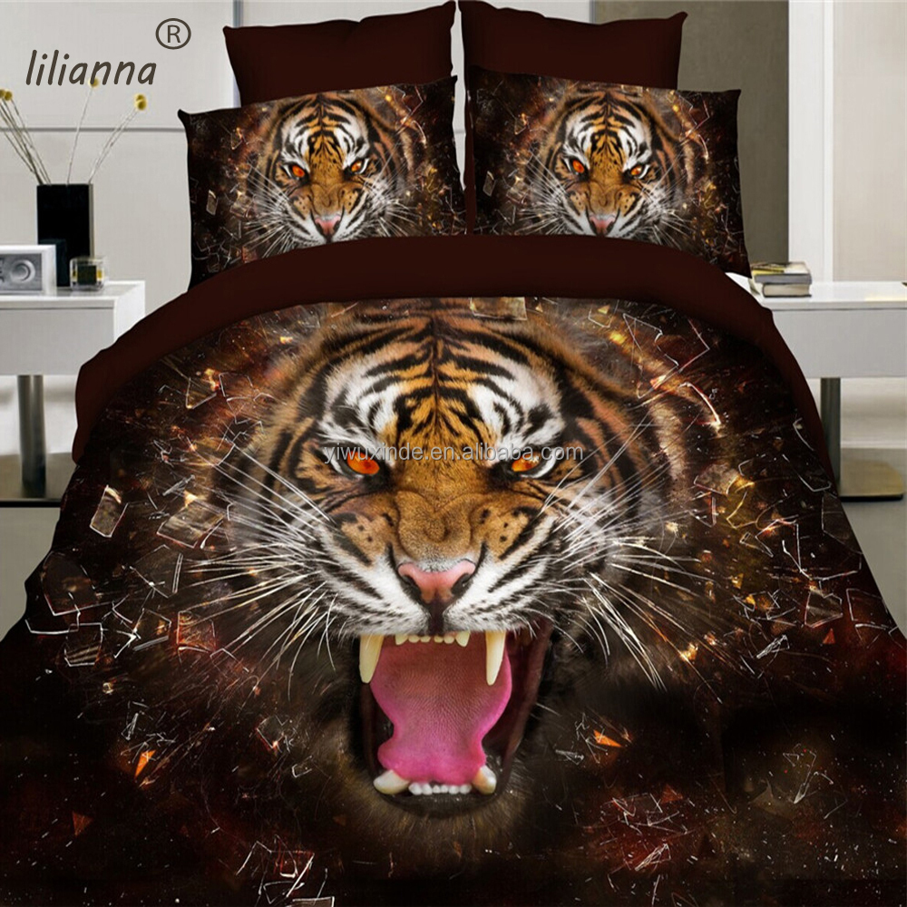 2016 dark brown tiger design bedding sets vivid 3D cotton animal printing bedding sets