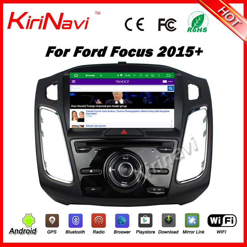 "Kirinavi WC-FM9105 android 5.1 8"" car navigation gps system for ford for focus 2015 2016 1din radio dvd player with bluetooth"