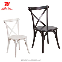 Wooden Event Wedding Stackable Cross X Back Chair ZJC25