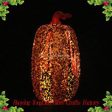 Hand blown led glass pumpkin for halloween decoration