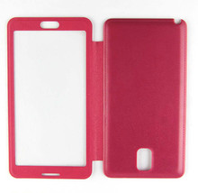 All-in-One PU leather case with transparent touch window for Samsung Galaxy Note 3