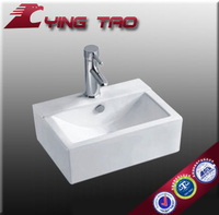 bathroom ceramic fuiniture no faucet hole shampoo bowl cheap price square art basin sink