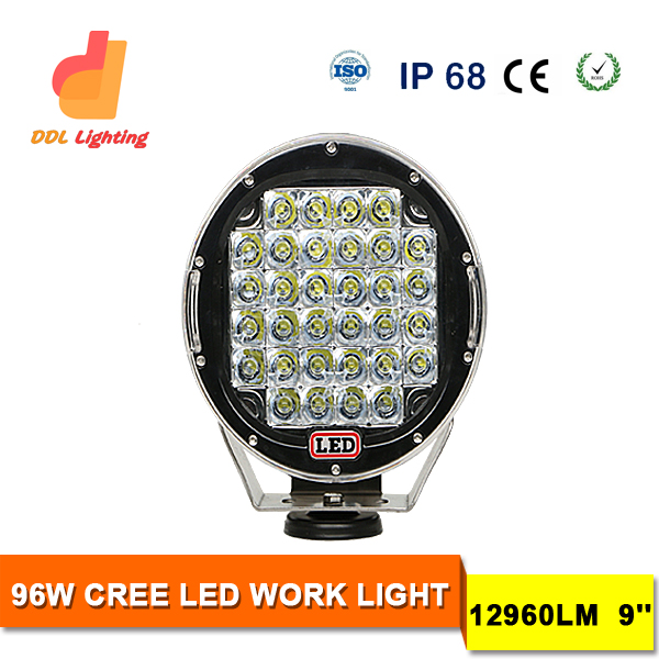 96W Crees LED work light 12960lm 9 inch led driving work light super brightness round work light