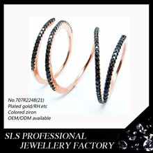 black stones channel setting rose gold plated, simple adjustable rings wholesale in Christmas