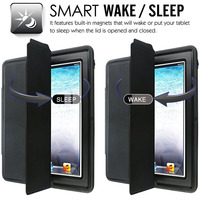 Extreme Heavy Duty Full Body Rugged Hybrid Case with Smart Magnetic Sleep Wake PU Leather Cover for iPad 2 3 4 AIR 2 Mini Retina